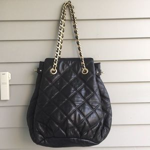 Ann Taylor quilted lambskin chain strap bag